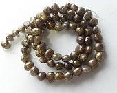 Cultured Freshwater Pearls, Copper Peacock, Potato Pearl. 6mm. 15 Inch Strand. (p5)