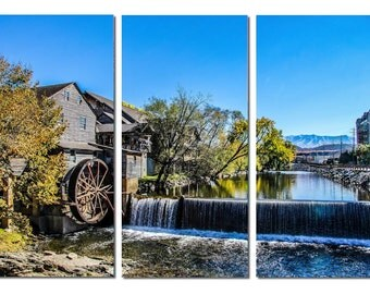 Old Mill in Pigeon Forge Tennessee Canvas Triptych, 3 Panel Art, LARGE, Ready to Hang