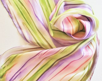 Hand Painted Silk Scarf - Handpainted Scarves Coral Salmon Pink Purple Eggplant Olive Lime Garden Green