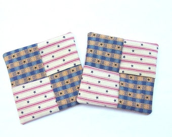 "Set of 2 Coasters, Red, White and Blue Coasters, 4""x4"", Americana Coasters, Fourth of July Coasters"