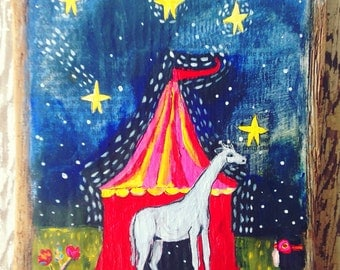 Folk Art Circus Giraffe Acrylic Paintjng