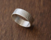 Tree Bark Texture Ring, Rustic Handmade Ring, Sterling Silver Band with Subtle Wood Grain Texture, Comfortable, Customization Available