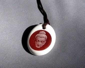 Buddha Pendant - Sepia Brown and Porcelain White