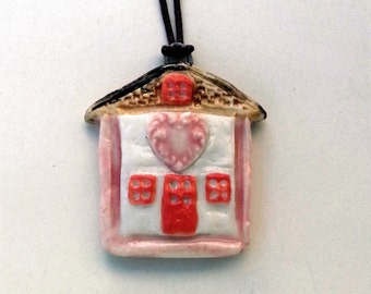 Ceramic Little Cottage With Heart Pendant Necklace Pottery Jewelry