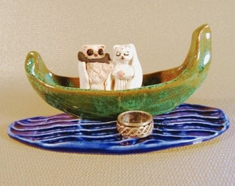 Owl and the Pussycat Ceramic Dish Handmade Ring Catcher Handmade Miniature Pottery Collectible