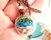 Glass Vial Necklace Glass Bottle Necklace Lake Michigan Beach Sand and Sea Glass Shell 24 inches silver wedding
