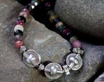 Tourmaline Bracelet, Tribal Silver Bracelet