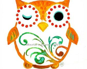 Owl art, modern wall art, kids room art, bird art,  Nursery wall art, animal art