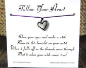 Follow Your Heart - Wish Bracelet - (Satin Silver Heart) - Shown In The Color VINEYARD  - Over 100 Different Colors Are Also Available