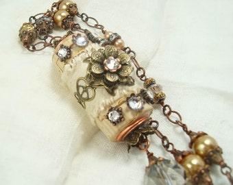 Estate vineyard wine cork necklace - up cycled silk pearls crystal pendant