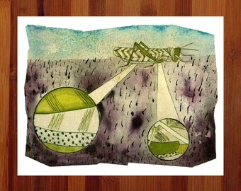 Grasshopper, Bug Art, Insect Print, Botanical Illustration, Science Art, Insect Art, Green, Purple,Prints Illustrations, Giclee Print,8.5x11