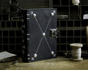 "Journal with Lock and Key, Black Leather - ""The Magic Book"""