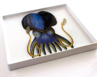 Blue Squid Decoupage Large Serving Tray