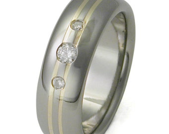 Titanium and Gold Diamond Wedding Band - Engagement Ring -  s92