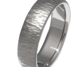 Ripple Hammered Titanium Wedding Band - n14