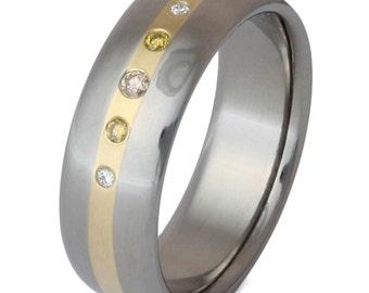 Chocolate and Yellow Diamond Ring-Titanium Wedding Band-18kt Gold Inlay - s5