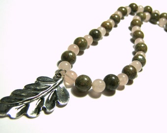 Jasper Rose Quartz Beaded Necklace, Beaded Necklace, Beaded Jewelry, Pink Necklace, Gemstone Jewelry, Gift Ideas, Leaf Pendant, Boho, Tribal