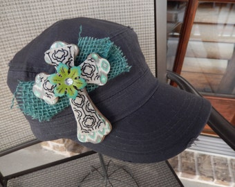 Turquoise Cross on Gray Cadet Cap - Free Shipping