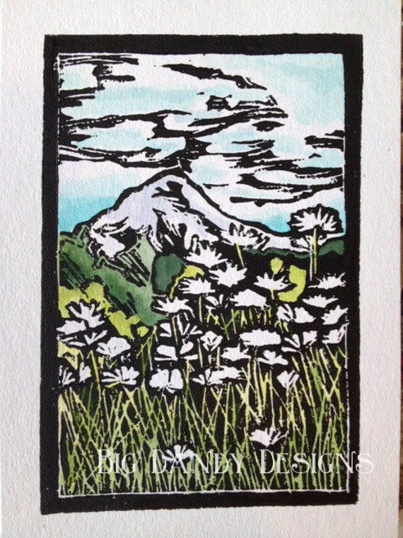 Mount Hood Linocut Print
