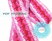 CROCHET PATTERN - Toddler kid baby child sweet fast quick cute valentine gift hearts thin scarf pdf instant download easy level winter fall