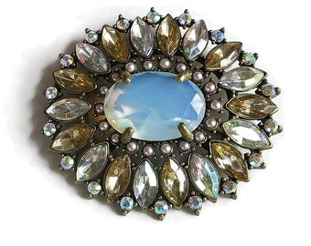 Art Deco Style Nancy and Rise Brooch Large Blue Opaline Glass & Aurora Borealis Rhinestones Vintage