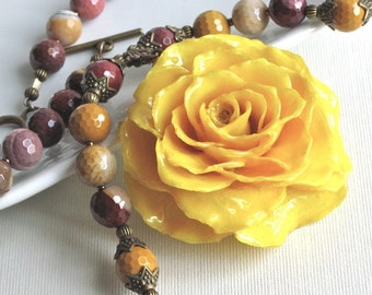 Large Real Rose Necklace -Yellow, Flower Necklace, Mookaite, Real Flower Jewelry, Nature Jewelry, Gemstone