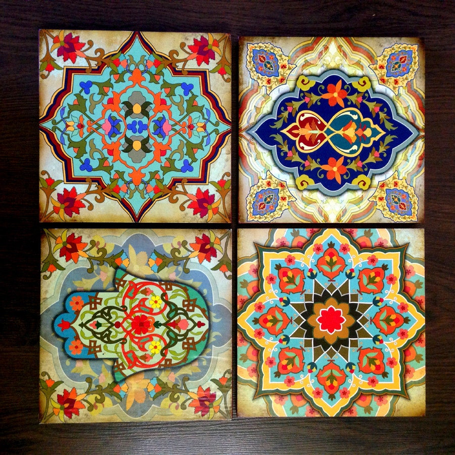 Hamsa Wall Decor hamsa hand moroccan wall art set blocks 8x8 set of 4 best home