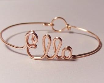 Bridesmaid Gift, Name bracelet, Birthday gift, Rose gold, Sister gift, birthday gift, wire name