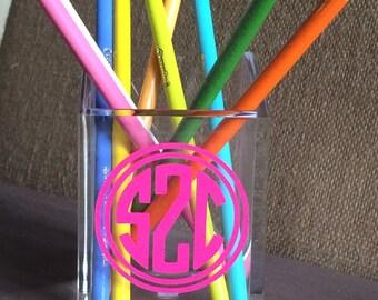 Monogrammed Acrylic Pencil Holder