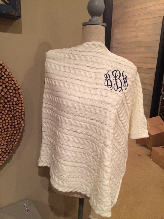 monogrammed ivory cable knit sweater poncho