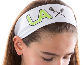 LACROSSE LAX Cotton Stretch Headband - Your Custom Headband and Team Graphic Colors - Quantity Discounts Available!