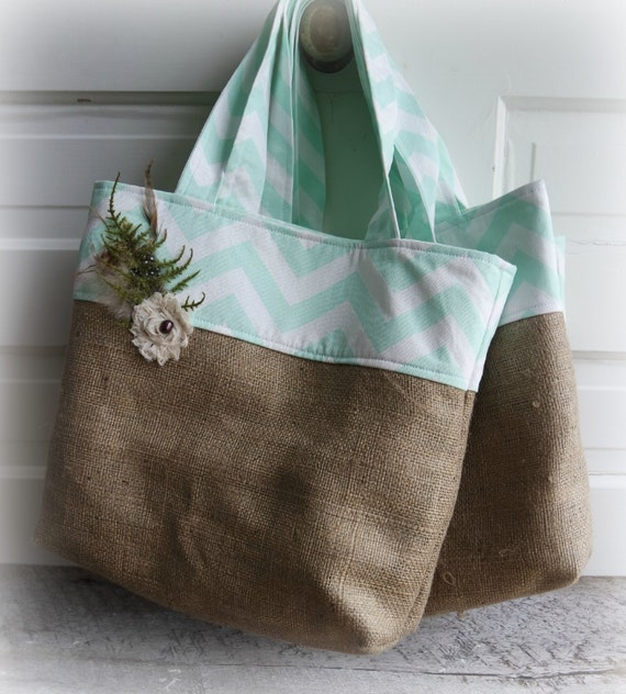 Chevron and Jute Tote - Mint - Choose your fabric