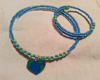 Childrens Necklace & Bracelet Set, Love the Earth