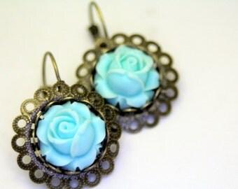 Old English Rose Bold Leverback Earrings Lush Mint Blue Wedding Bridal