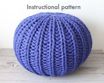 Chunky knit pouf pattern