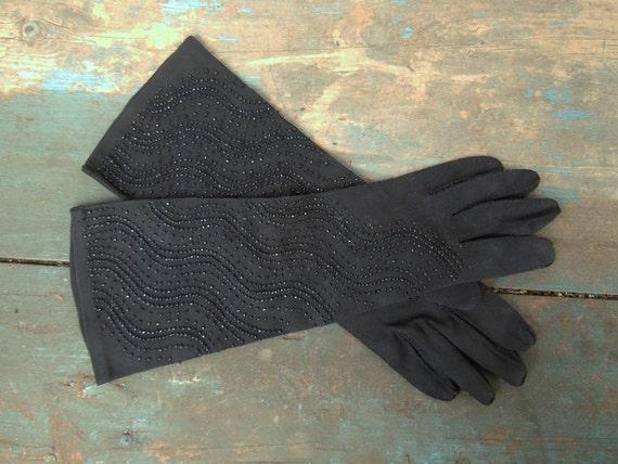 Vintage 1960s 100% Cotton Gloves Black Beaded Evening Formal Gloves Size 7 1/2 Crescendoe Gloves
