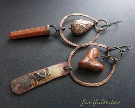 Cafune. Rustic brick terra cotta asymmetrical assemblage earrings with artisan beads and elements.