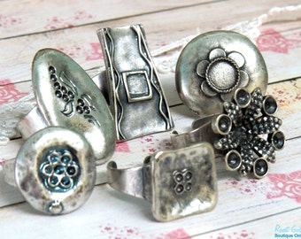 SALE 6 Silver plated ring blanks , oval , round , flower & square blank ring settings , Boho style oxidized rustic adjustable wide band - L