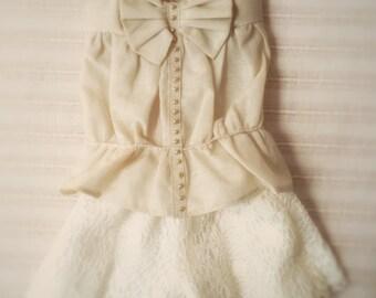 Jiajiadoll- cream bowknot vest fits MSD or minifee or Unoa