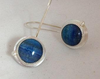 Amazonite and Sterling Silver Bezel Set Earrings