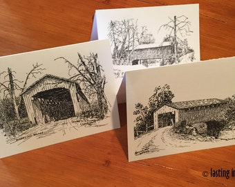 Covered Bridges Note Cards – Indiana Covered Bridges Artwork – Covered Bridges Gift Collection