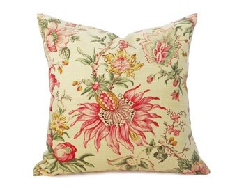 Pale Yellow Pillow Covers, Country Floral Pillows, Jacobean Red Pink Flowers, Unique Handmade Pillows, 12x18, 18x18, 20x20, 22x22
