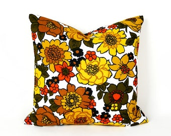 Retro Floral Pillow Cover, Orange Yellow Gold Pillows, Spring Sale, Mid Century Modern, Eco Chic, Vintage Home Decor, 18x18