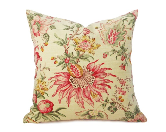 Pale Yellow Pillow Covers Country Floral Pillows Jacobean