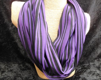 Black and Purple Lines Infinity Scarf - Circle Scarf - Handmade Sewn Scarf