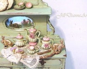 RESERVED for Patricia  Tea Set for Two plus basket and dessert plate - Earth tones - Dollhouse Miniature - Jill Dianne