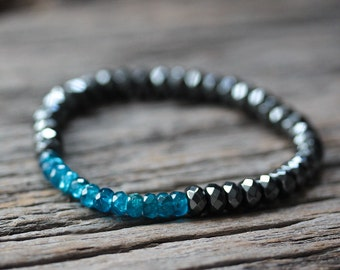 Neon Blue Apatite Hematite Stacking Bracelet / Beaded Beadwork Bracelet / Bright Cyan Blue Natural Gemstones / Metallic Grey Mystical Blue