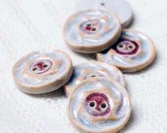 Cranberry Spirals Button – Porcelain - Pottery - Clay - Ceramic - Handmade