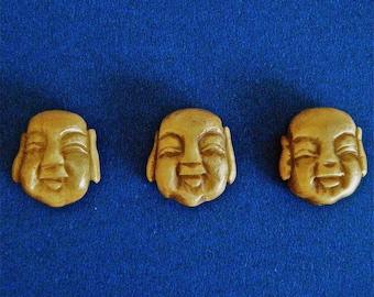 """3 Buddha Heads Chinese Bone Beads  3/4""""  X 5/8 """" New"""