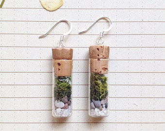 Terrarium Earrings - Moss, Vial, Stone